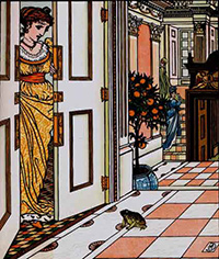 "Illustration von Walter Crane: ""The Frog Asks To Be Allowed To Enter The Castle"", 1874"